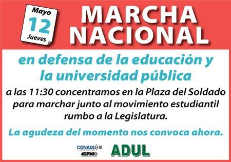 Marcha Nacional: 12 de mayo