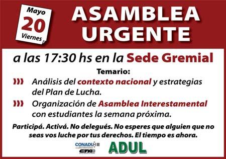 Asamblea Urgente en ADUL