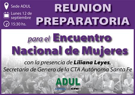 Reunión Preparatoria para el Encuentro Nacional de Mujeres. No te la pierdas!