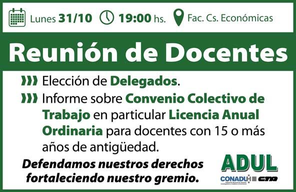 Hoy a las 19 Reunión de Docentes en Económicas. No faltes!!
