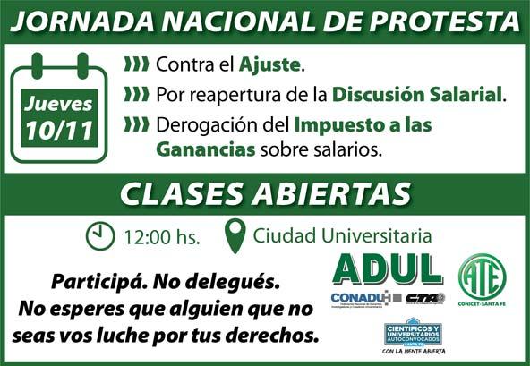 Jornada Nacional de Protesta: Clases Abiertas – Jueves 10/11 – 12 hs. – Ciudad Universitaria
