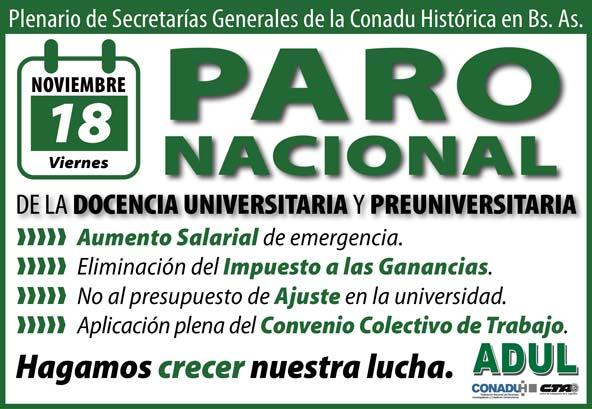 18/11/16 Paro Nacional y Plenario de Secretarías Generales de Conadu Histórica