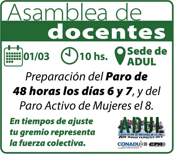 Asamblea de docentes en ADUL – 01/03 – 10 hs.