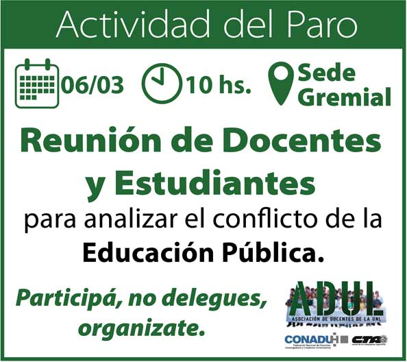 Reunión de docentes y estudiantes – 06/03 10 hs – ADUL
