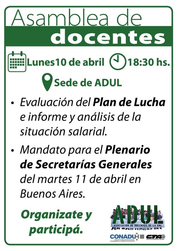 Asamblea de Docentes – Lunes 10/04 – 18 hs.