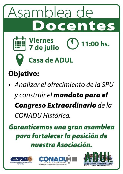 Asamblea de Docentes: Viernes 7/7 – 11 hs