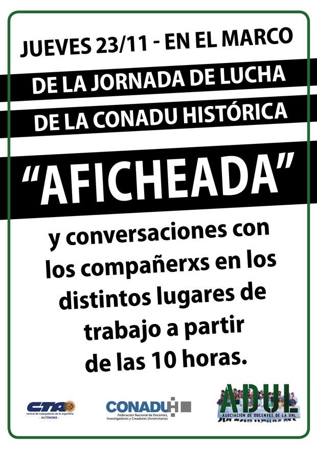 «AFICHEADA» en el marco de la Jornada de Lucha