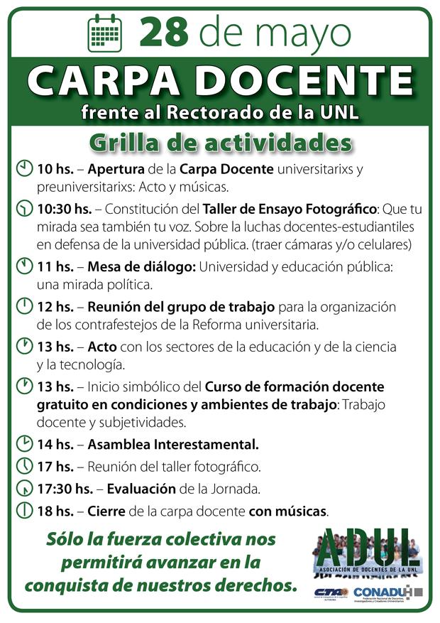 CARPA FRENTE AL RECTORADO – Grilla de actividades