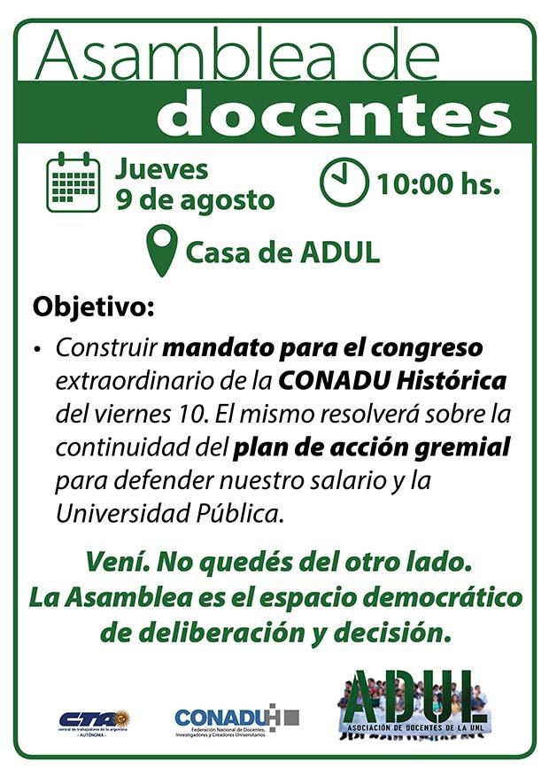 Asamblea de docentes – Jueves 9/08 – 10 hs.
