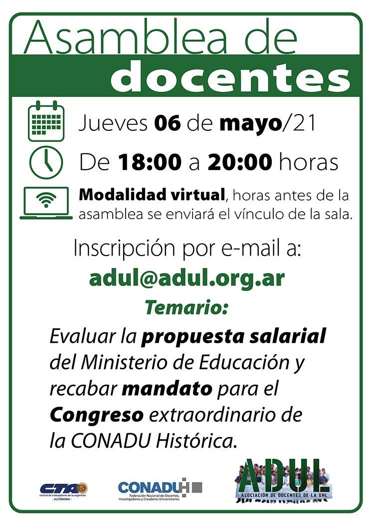 Asamblea – Jueves 6/5 – 18 a 20 hs.