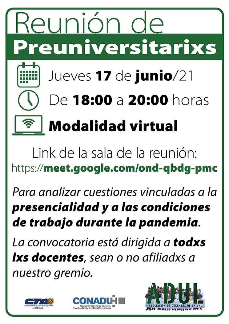 Reunión de docentes de nivel preuniversitario – Jueves 17/6 – 18 hs.