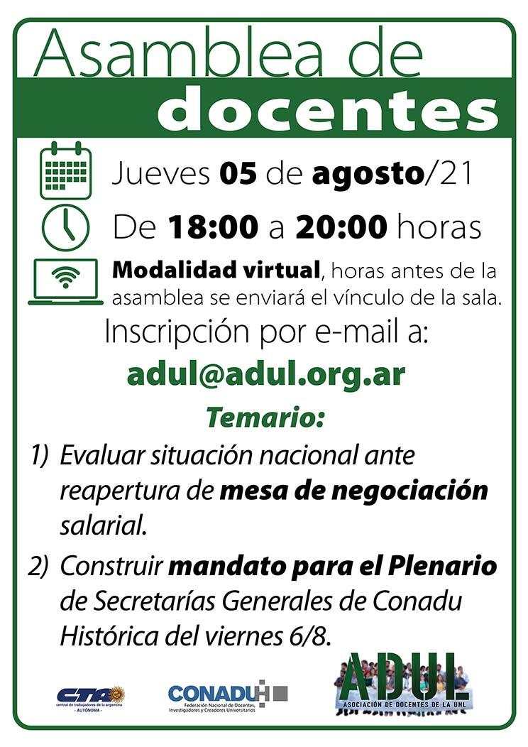 Asamblea de docentes – jueves 5/8 – 18 a 20 hs.