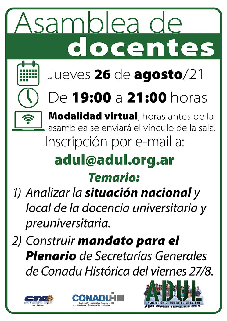 Asamblea de docentes – Jueves 26/8 – 19 a 21 hs.