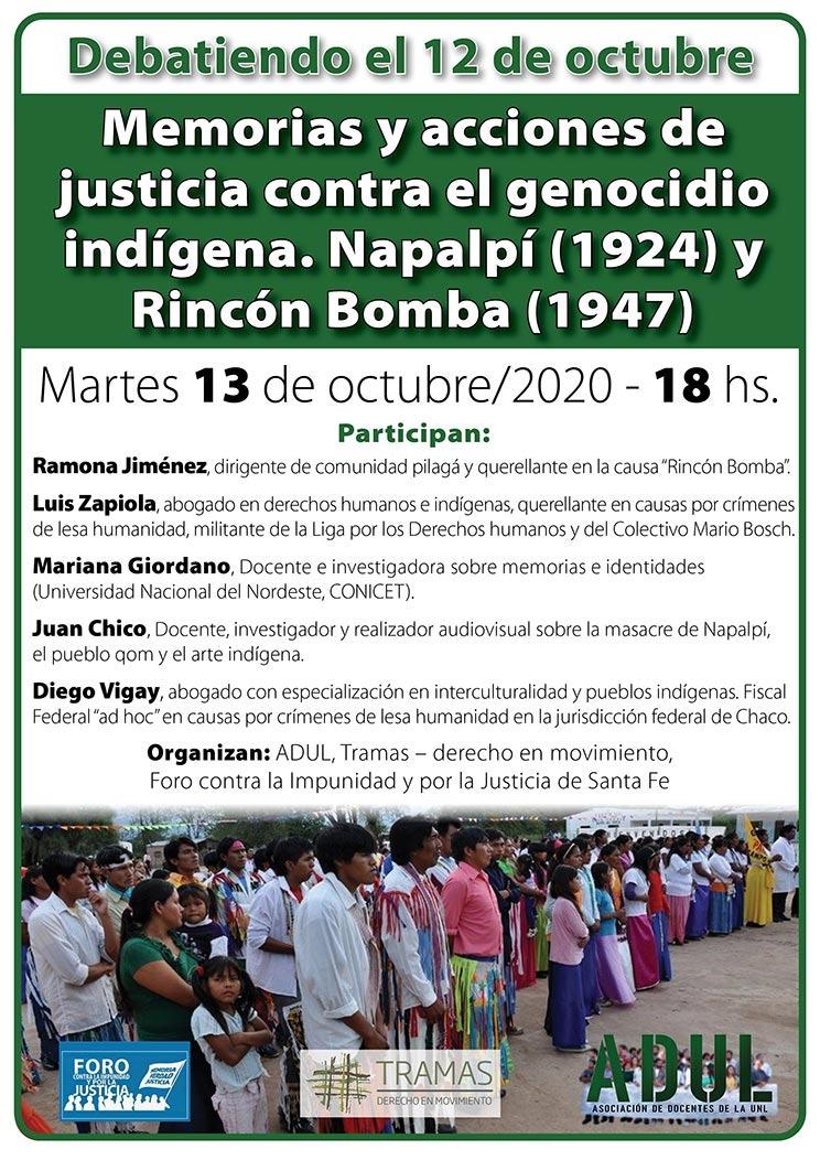 """Debatiendo el 12 de octubre: """"Memorias y acciones de justicia contra el genocidio indígena. Napalpí (1924) y Rincón Bomba (1947)"""""""