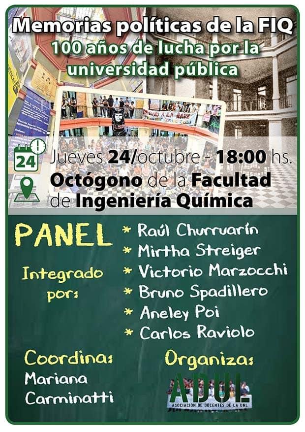 Panel: Memorias políticas de la Facultad de Ingeniería Química