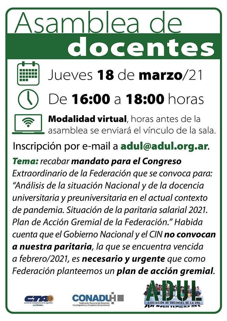 Asamblea de Docentes – 18/03 – 16 hs.