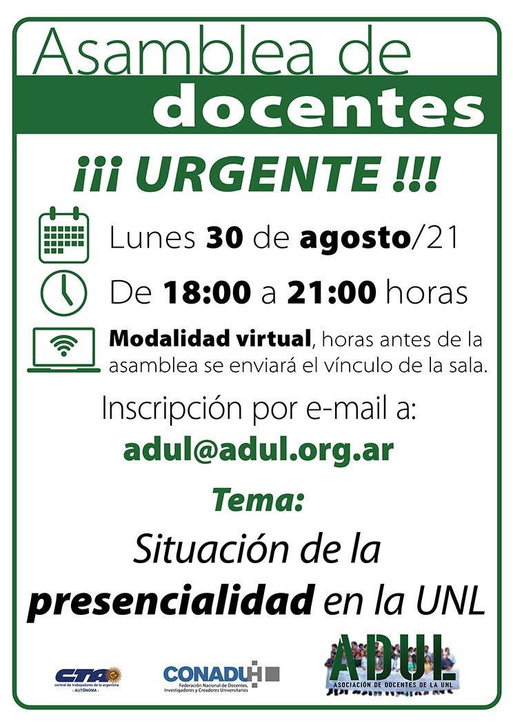 Asamblea de docentes – Lunes 30/8 – 18 hs.