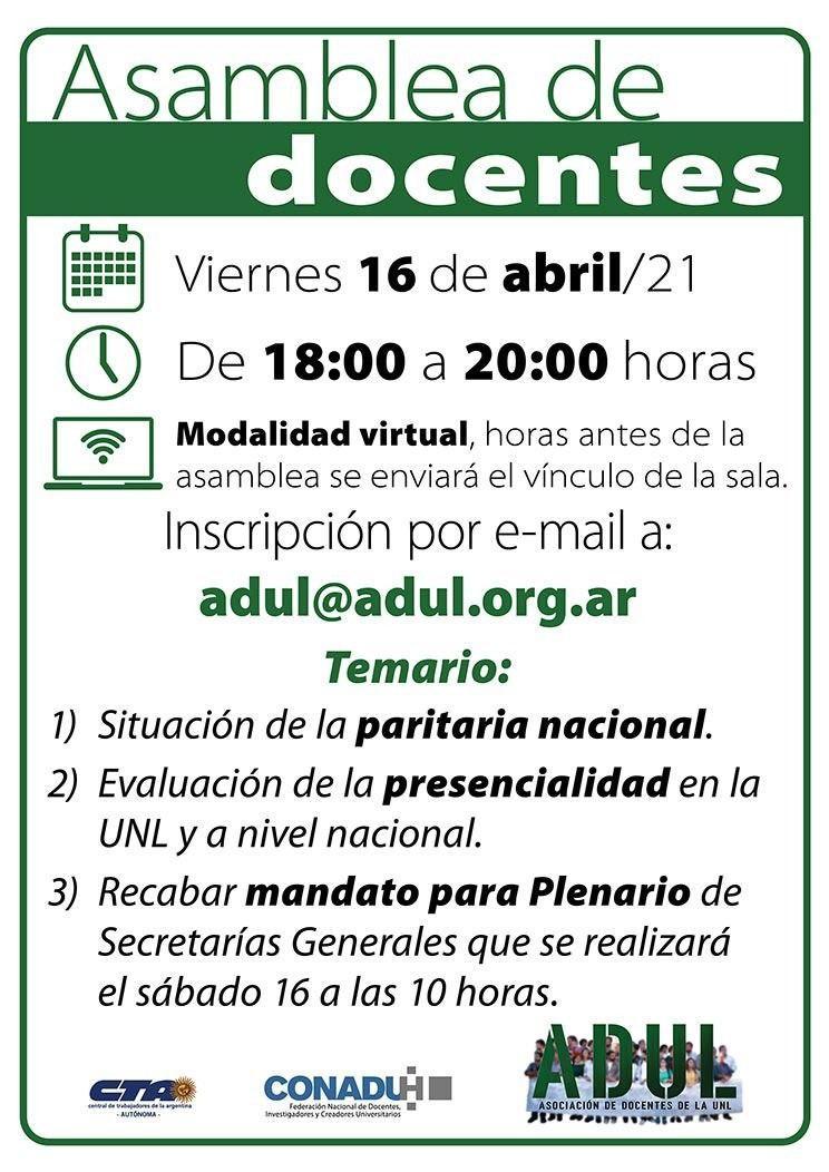 Asamblea de docentes – viernes 16/4 – 18 hs.