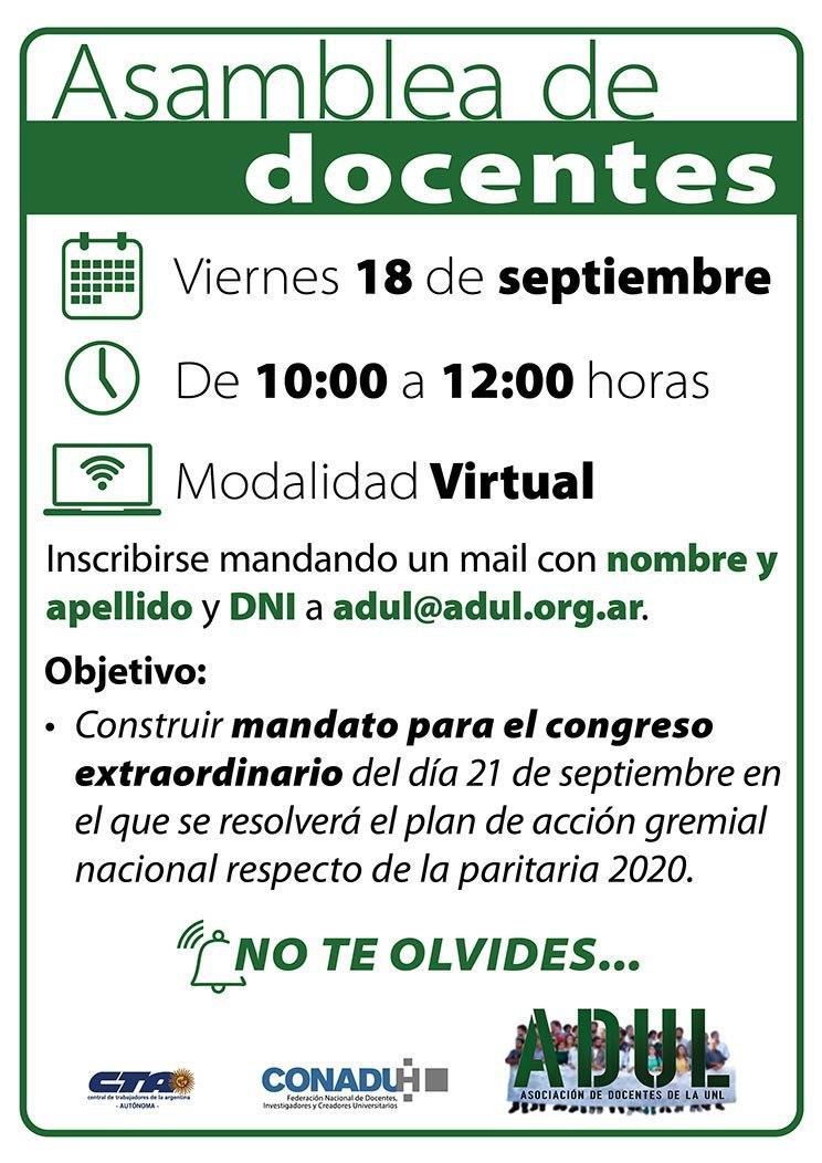 Asamblea – viernes 18  – 10 a 12 hs.