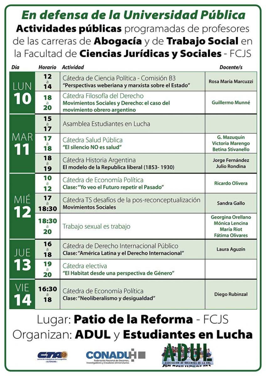Grilla de actividades FCJS en defensa de la Universidad Pública