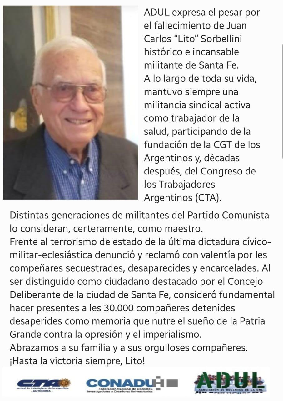 Ante el fallecimiento de Juan Carlos «Lito» Sorbellini