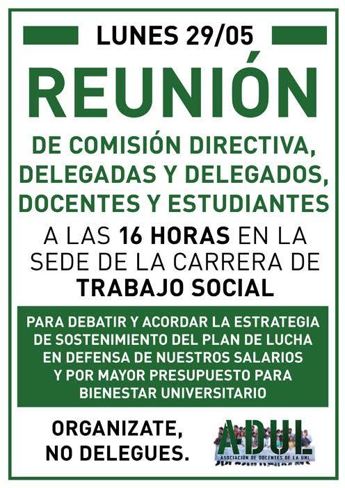 Lunes 29/05: Reunión en la Sede de la Carrera de Trabajo Social