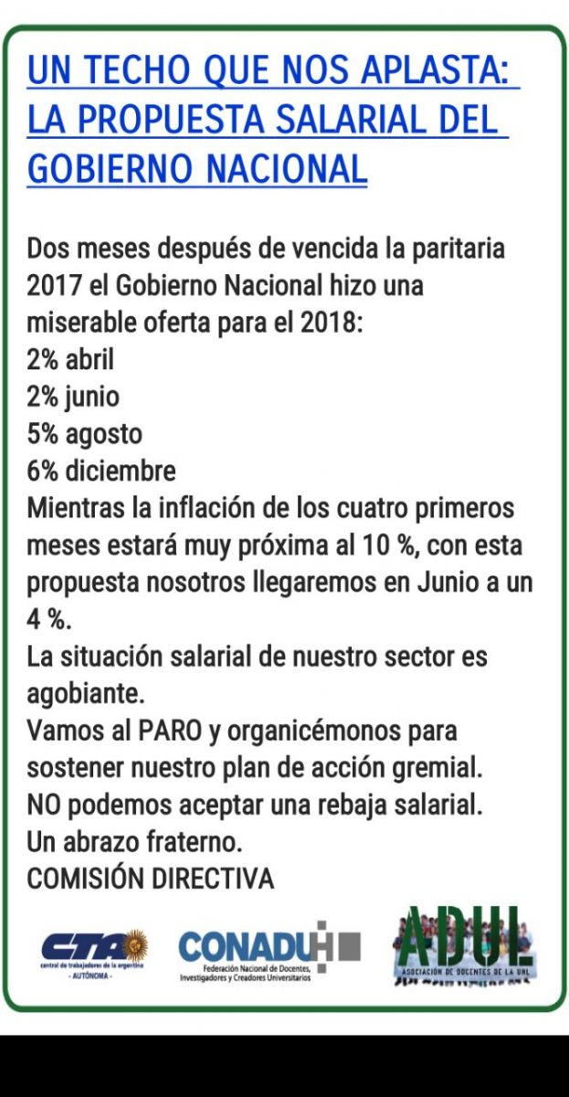 Propuesta Salarial del Gobierno Nacional