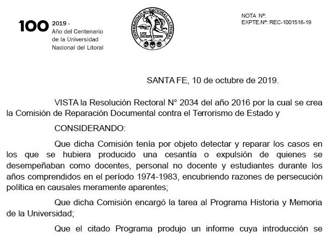 La UNL reconoce a docentes y estudiantes cesanteados o desaparecidos en la dictadura