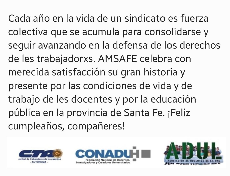 Saludo a AMSAFE en su nuevo aniversario