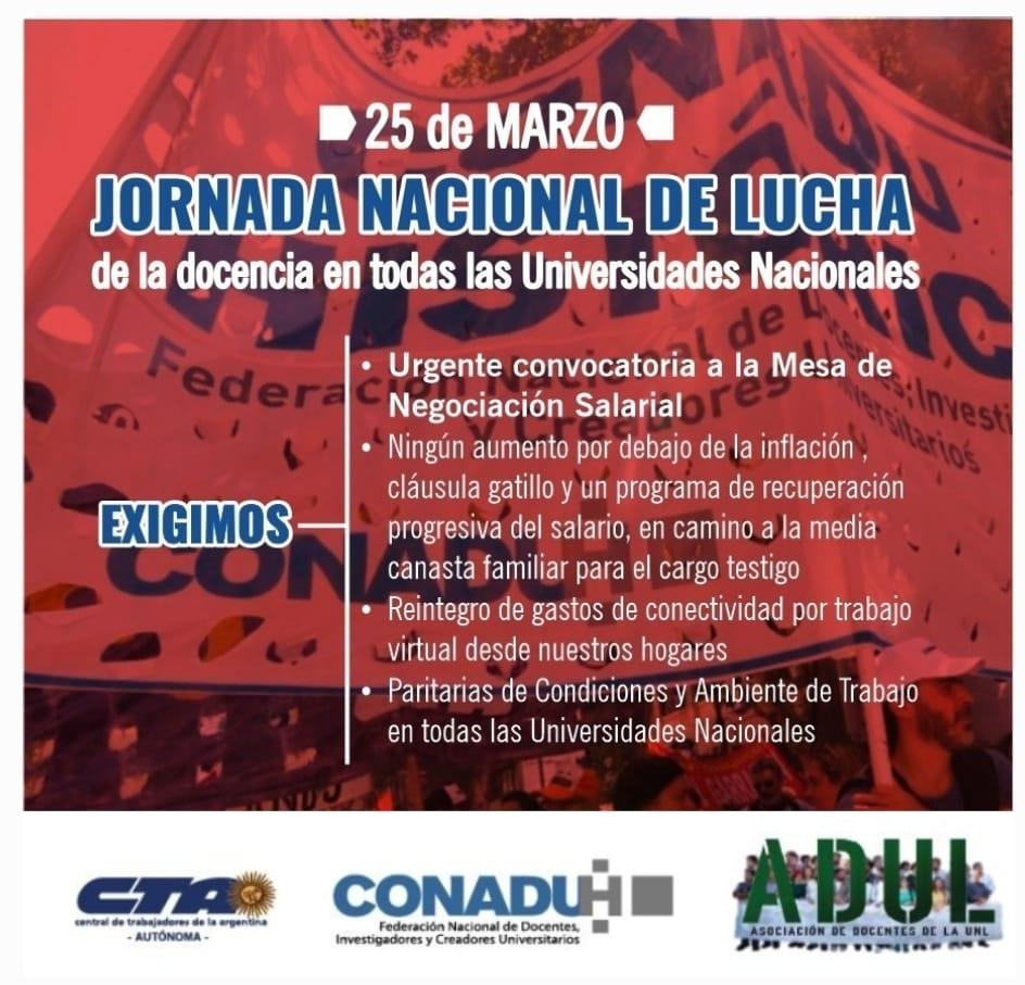 Jueves 25M: Jornada Nacional de Lucha de la Docencia universitaria y preuniversitaria