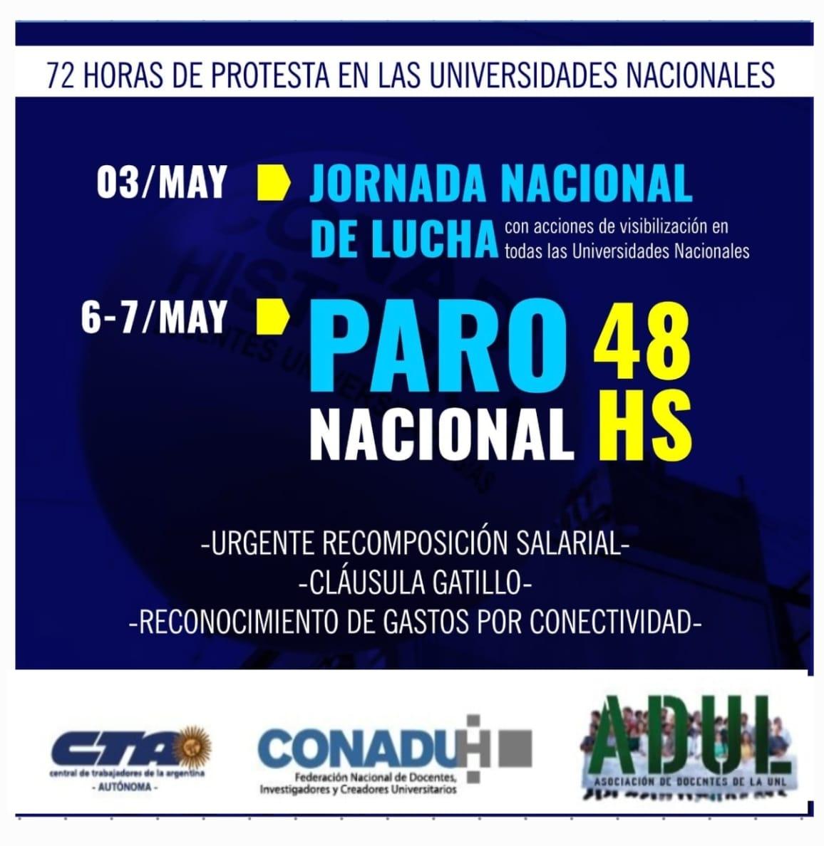 Comienzan las 72 horas de protesta en las universidades nacionales