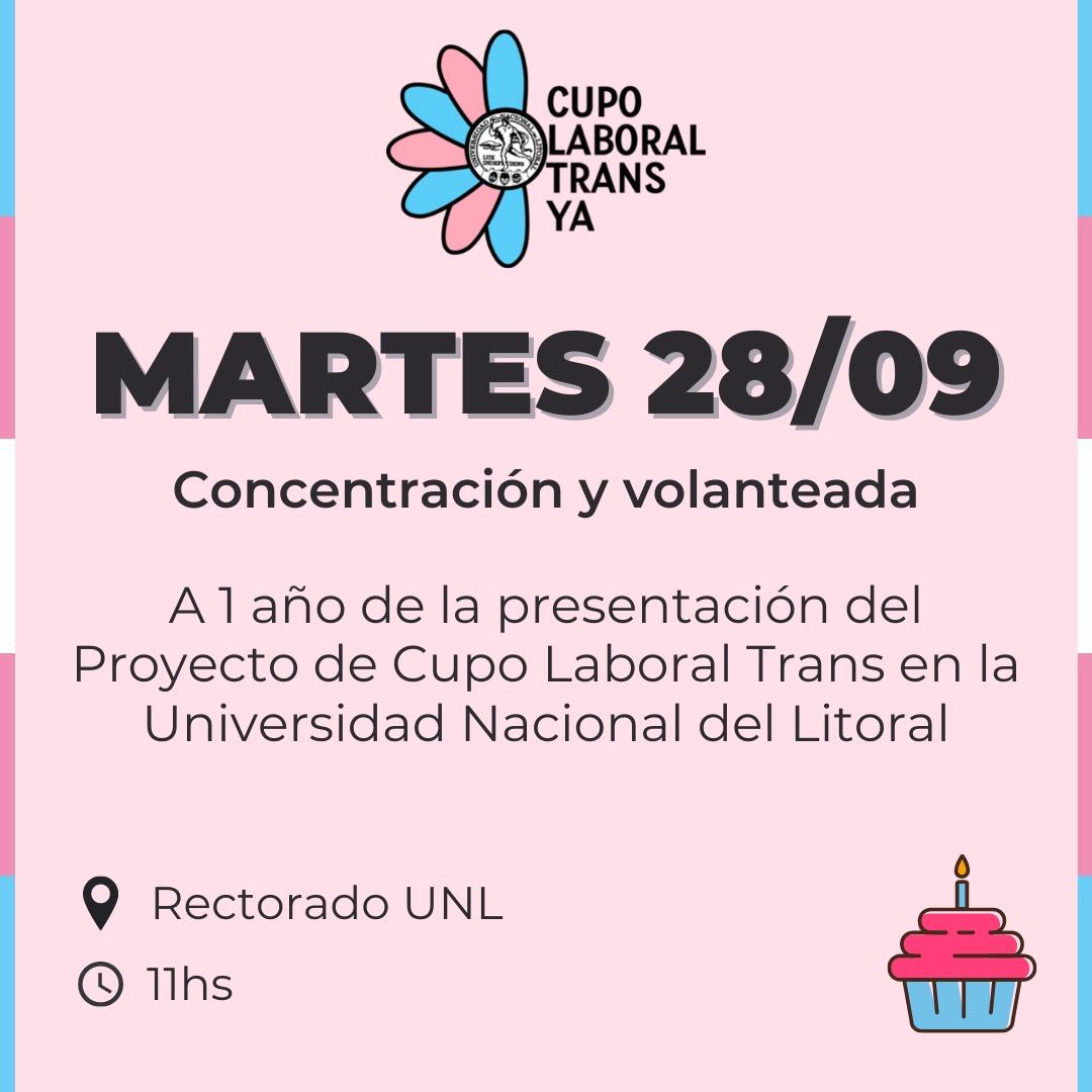 Concentración y volanteada a 1 año de la presentación del Proyecto de Cupo Laboral Trans en la UNL