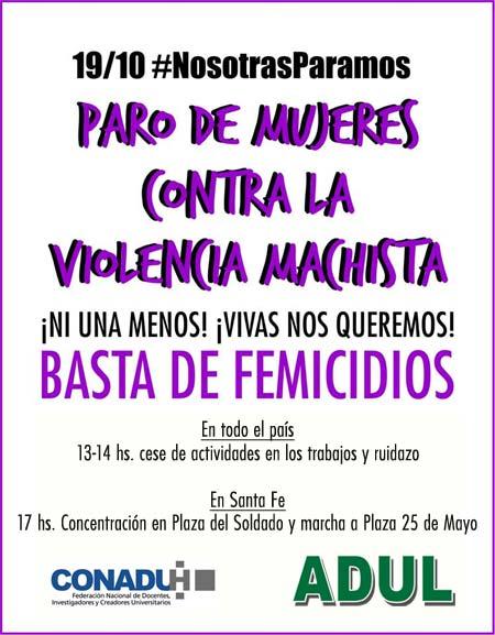 ADUL nos convoca al paro contra la violencia machista: NI UNA MENOS!!