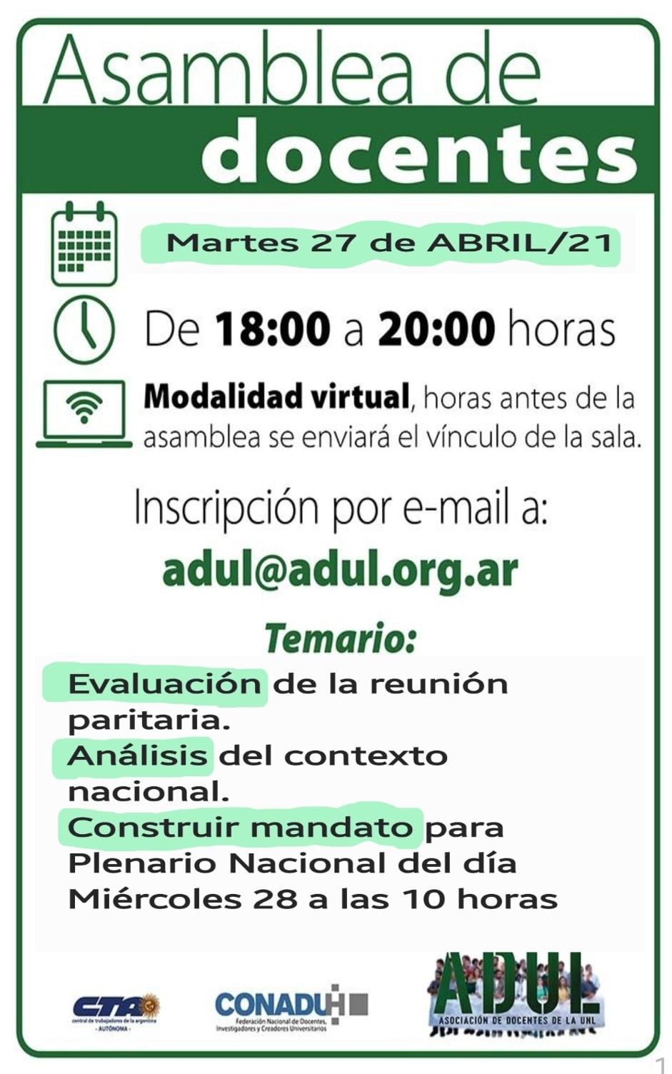 Asamblea de docentes – Martes 27/4 – 18 a 20 hs.