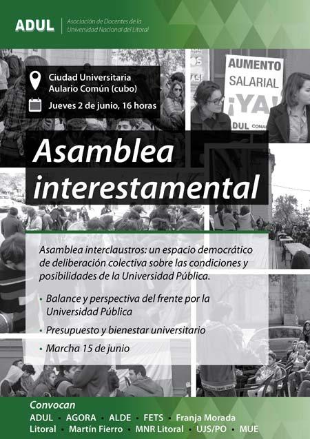 Asamblea Interestamental: este jueves a las 16 en la Ciudad Universitaria