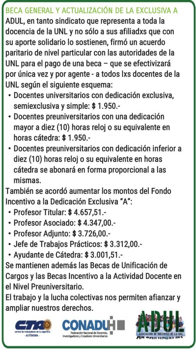Beca General y Actualización de Exclusiva A