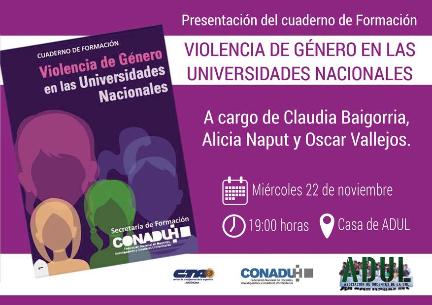 Presentación del cuaderno de Formación Violencia de Género en las Universidades Nacionales