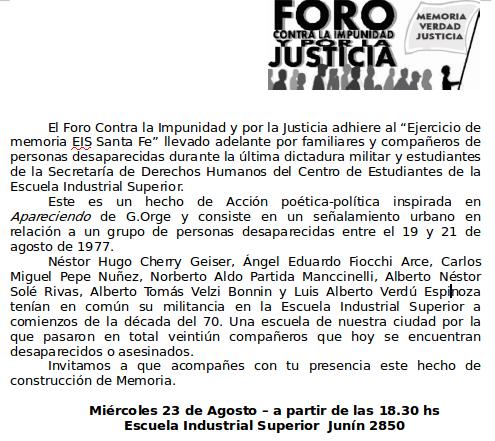 «Ejercicio de Memoria EIS Santa Fe»