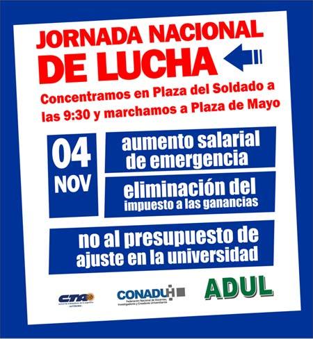4 de noviembre: Jornada Nacional de Lucha