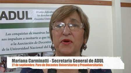 Mariana Carminatti sobre el paro de mañana y la asamblea docente. Te esperamos!!!!