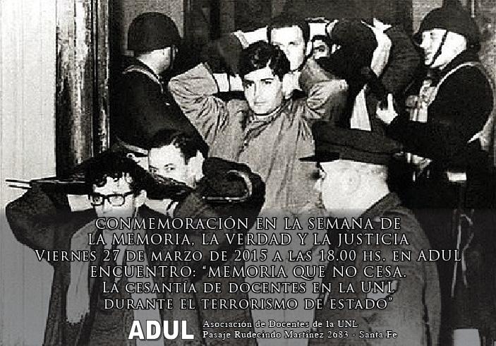 Actividad en ADUL en la Semana de la Memoria, la Verdad y la Justicia