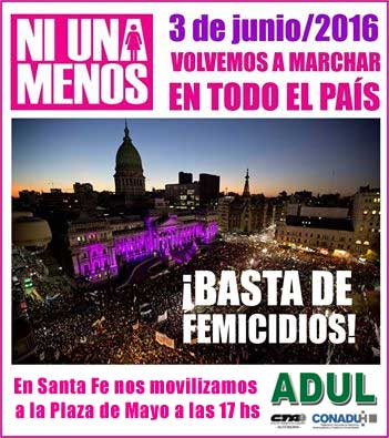 Ni Una Menos: 3 de junio en Santa Fe nos movilizamos a Plaza de Mayo