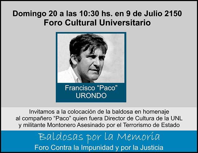 Invitación a colocación de baldoza en homenaje a Paco Urondo
