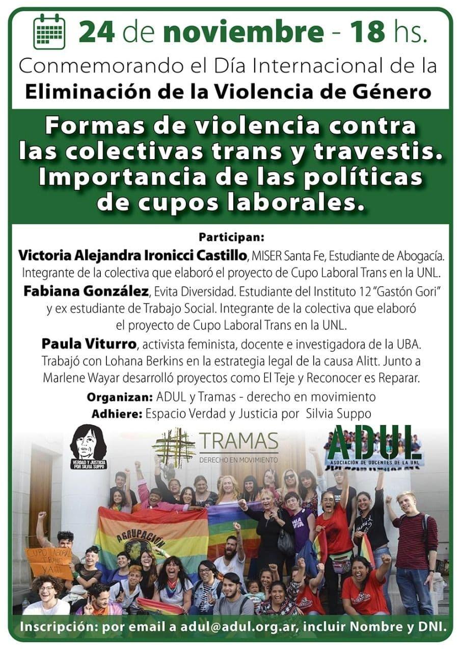 Jornada:  «Formas de violencia contra las colectivas trans y travestis. Importancia de las políticas de cupos laborales»