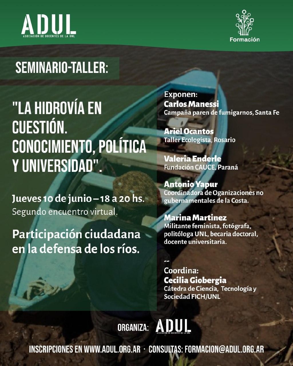 Seminario-Taller: la hidrovía en cuestión. Segundo encuentro: «Participación ciudadana en la defensa de los ríos» – Jueves 10/6 – 18 a 20 hs.