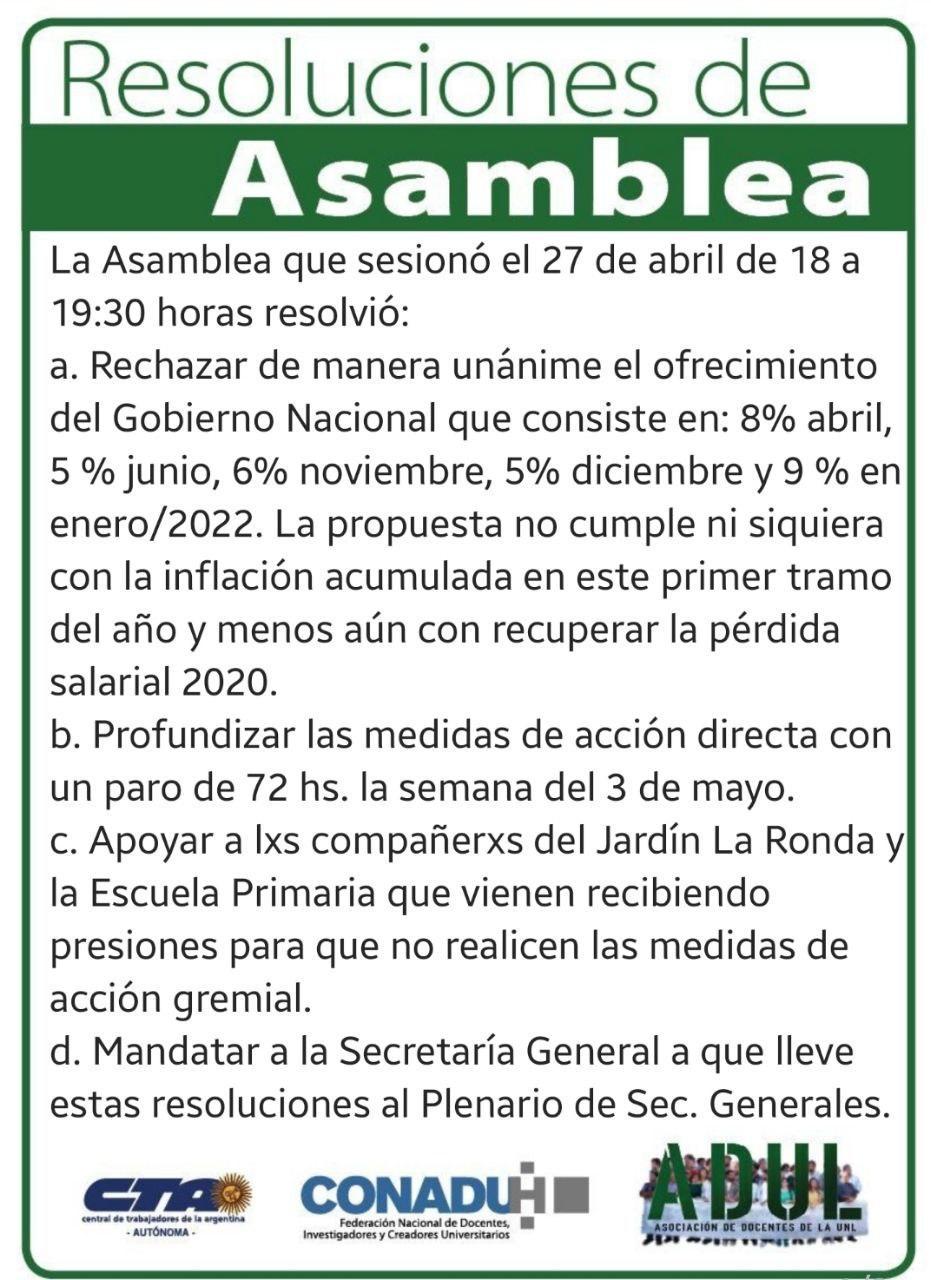 Resoluciones de Asamblea 27/4