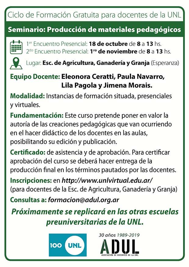 Ciclo de formación gratuita ADUL-UNL, en Esperanza