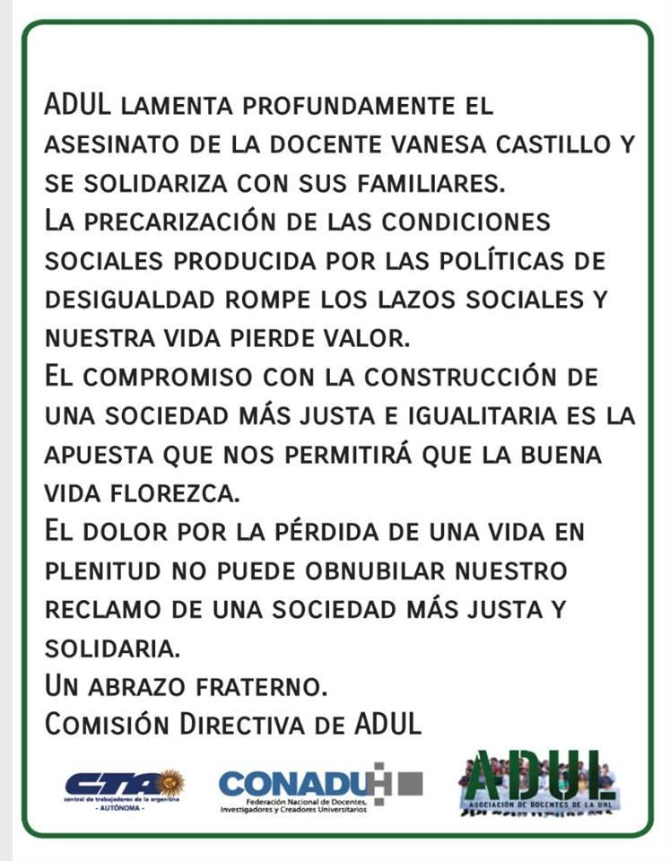 Ante el asesinato de la compañera docente Vanesa Castillo