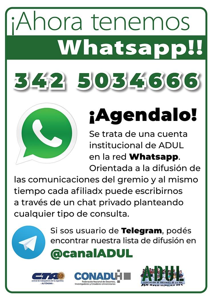 Lanzamos el Whatsapp de ADUL